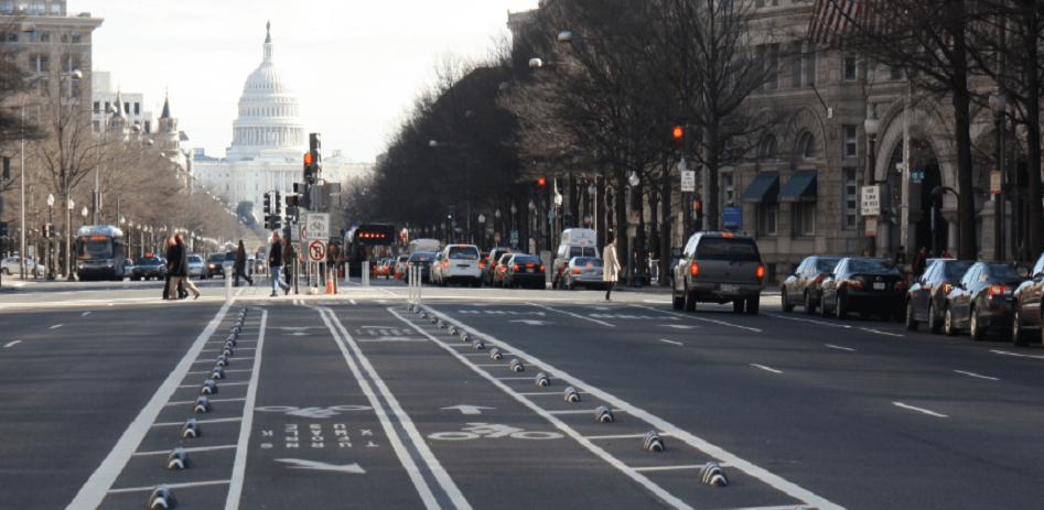 segregated bike lane in the US